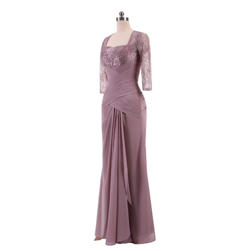 W.JOLI Long Evening Dress Elegant Lace Pleat Bride Banquet Floor-length Prom Gown lavender Purple Vintage Wedding Party Dress 6