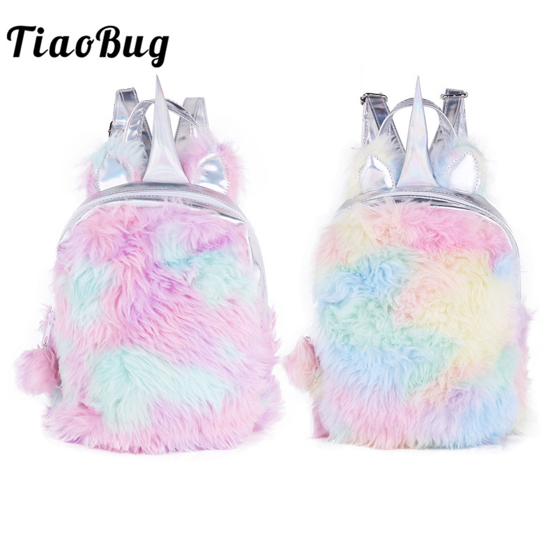 TiaoBug Cute Girls Plush PU Leather Cartoon Kawaii Iridescent Kid Ballet Bag Backpack Child School Travel Daypack Dance Rucksack