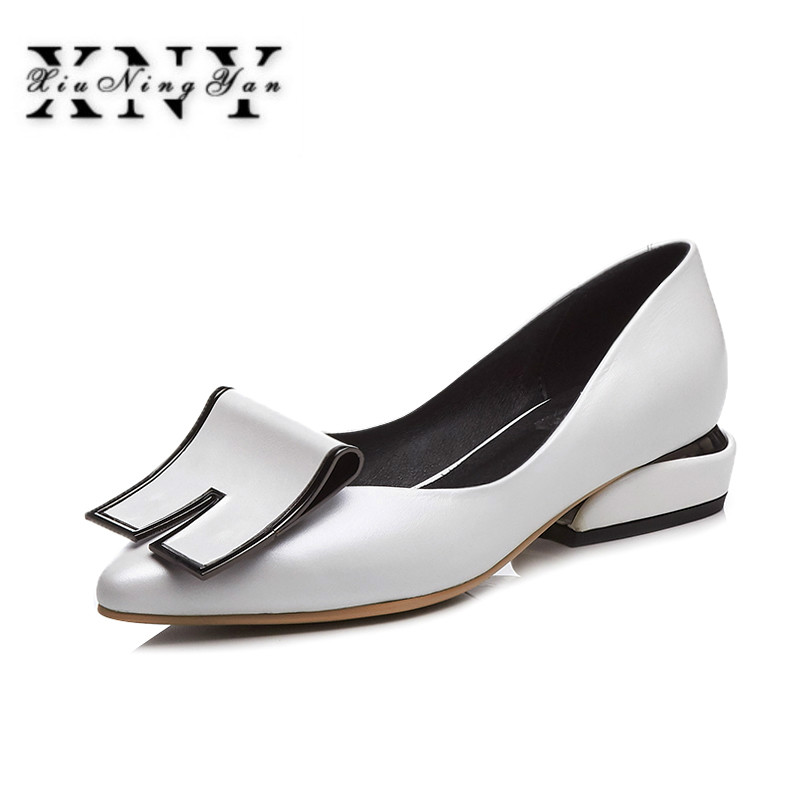XIUNINGYAN High Heels Ladies Pumps Strange Style Genuine Leather Pointed Toe Footwear Spring Fashion Large Size Shoes 42 Women isnom high heels women pumps 2018 spring fashion office ladies shoes pointed toe strange style genuine leather rivet footwear