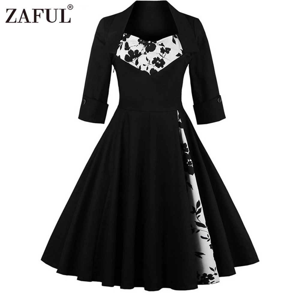 ZAFUL UK plus siz Women Vintage Dress Audrey hepburn elegant ...