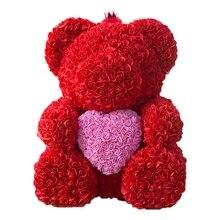 25 см плюшевый мишка с короной в подарочной коробке медведь из роз искусственный цветок новогодние подарки для женщин подарок на день Святого Валентина