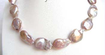 FREE shipping> >>>GENUINE 20mm purple SOUTH Reborn keshi pearls necklace a0403