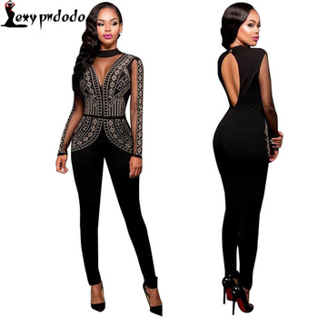 2016 Autumn Black Lace Rompers Womens Jumpsuit Bodysuit Woman Sexy Backless Long Sleeve Zip Overalls Combinaison Femme Playsuit