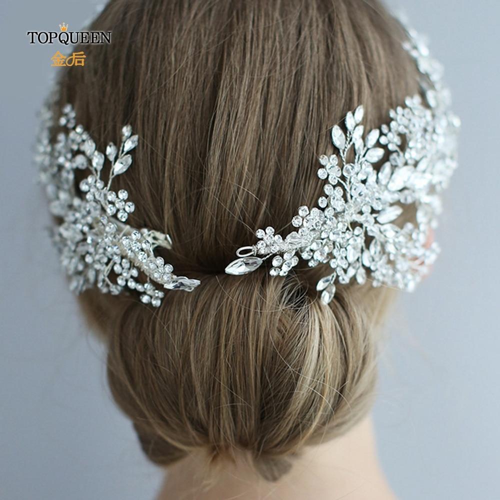 Image 4 - TOPQUEEN HP253 Luxury crystal wedding hair jewelry bridal accessories wedding hair vine clip wedding tiara Bridal headband-in Bridal Headwear from Weddings & Events
