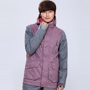 Gsou Snow Men Waterproof Ski jacket Light purple color snowboard Wear Windproof Waterproof male winter coat sport Top Warm Up