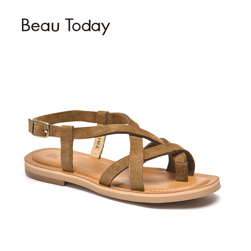 1fa0db14cb3 BeauToday Women Summer Sandals Genuine Leather Cow Suede Buckle Strap  Classical Rome Lady Flat Shoes Handmade 32067