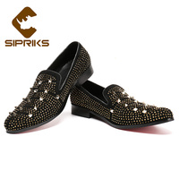 Sipriks Unique Designer Mens Loafers Fashion Slip On Shoes With Rhinestones Black Smoking Slippers Red Rubber