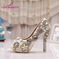 New Arrival Rhinestone Peep Toe Pumps Women Pearl Crystal Bridal Shoes Handmade Ivory Glitter Diamond Wedding Party Prom Heels