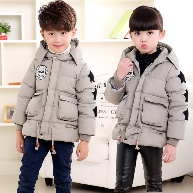 Big Child Down Jacket for Boys and Girls Kids Hooded Star Down Coat Winter Jackets for Teenage Girls Outerwear Coat dj061