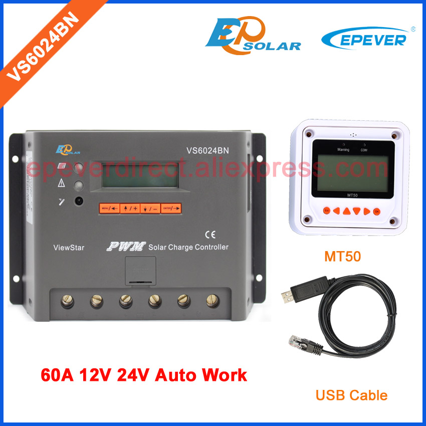 pwm 60A controller EPEVER Solar portable controller VS6024BN ViewStar series MT50 remote Meter 12V 24V 60amps regulator Battery