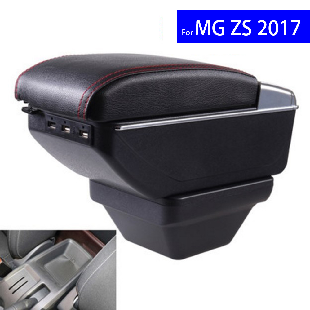 Leather Car Interior Parts Center Console Armrest Box for MG ZS 2017 2018 Auto Armrests with USB CUP Holder Free Shipping universal leather car armrest central store content storage box with cup holder center console armrests free shipping