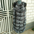 2016 Women Real Natural Fox Fur Coat Jacket Winter Long Luxury Fox Fur Hair Can be Transformer Length removable sleeve