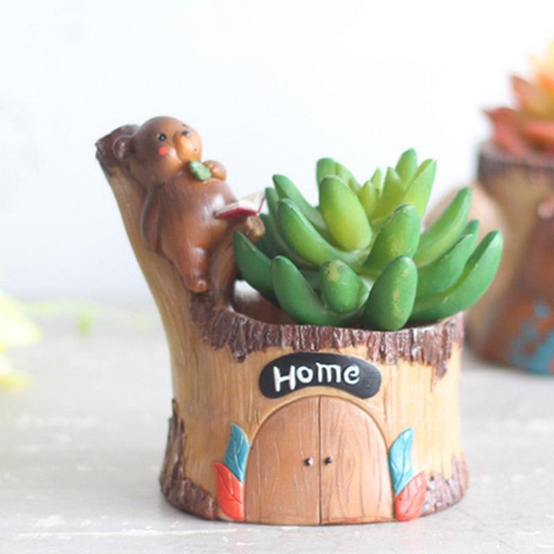 Image 2 - Modern Wooden Resin Bonsai Succulents Pot Retro Permeable Ceramic Pen Holder Flower Pots Living Room Office Garden Home Decor-in Flower Pots & Planters from Home & Garden