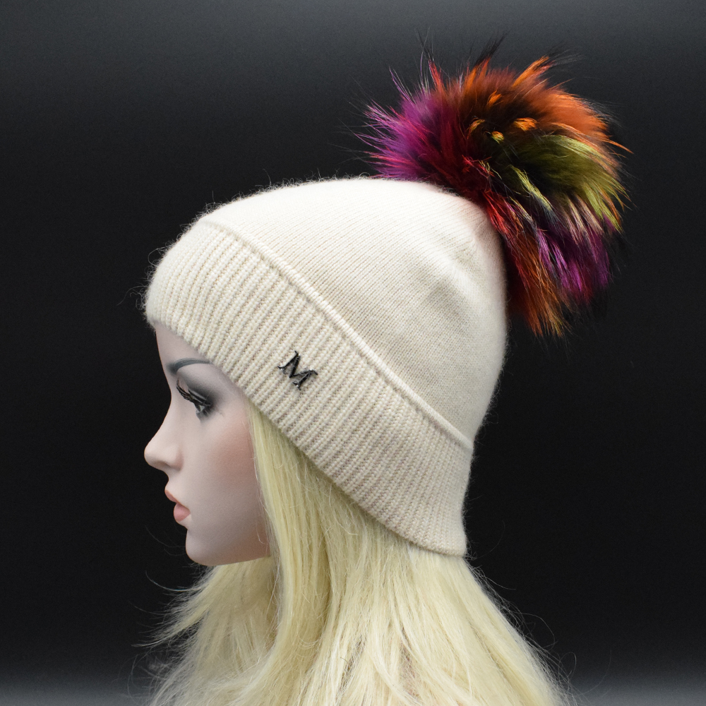 Free shipping 2017 Luxury Big Raccoon fur pompoms Hat wool Knitting hat Solid color Skullies Beanie Fashion brand Lady Hat free shipping skullies