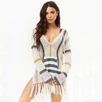 Womens Crochet Tassel Swimsuit Bikini Swimwear Beach Cover Up Net Sexy V Neck Mini Dress
