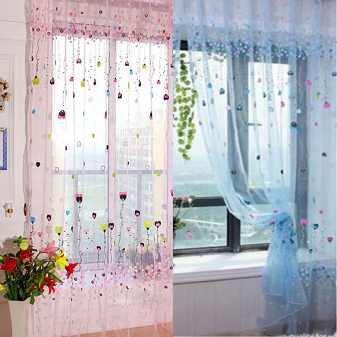 Floral Balloon Tulle Voile Door Window Curtain For Living