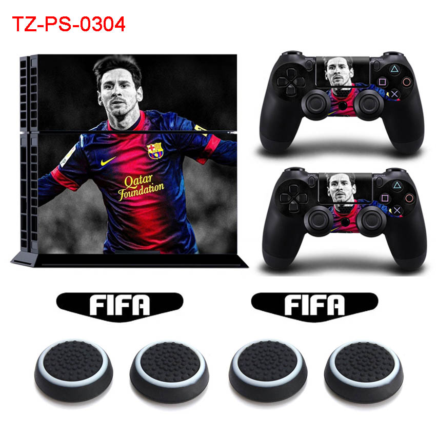 MESSI Vinyl Sticker Decal For Sony Playstation 4 PS4 Console Protective Skin & Light Bar Stickers & Silicone Caps