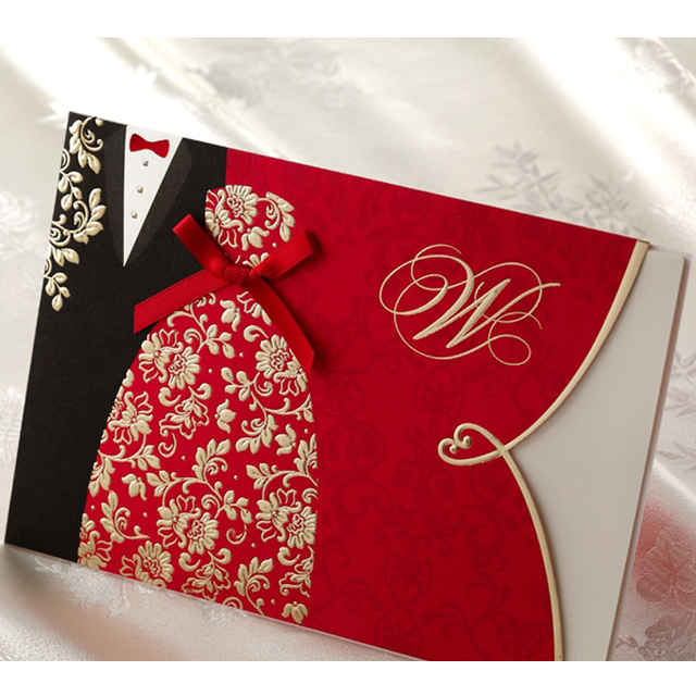 10 pieceslot New Classic Bride And Groom Wedding Invitation Cards