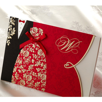 10 Pieces Lot New Classic Bride And Groom Wedding Invitation Cards Red And Black Chinese