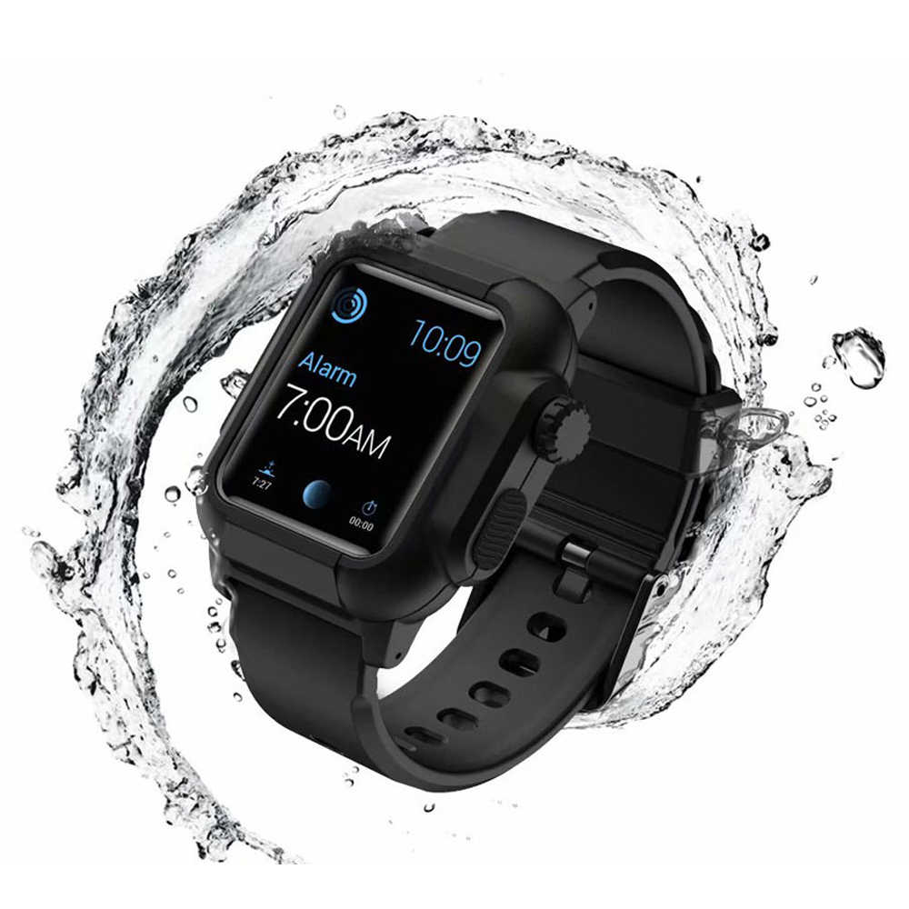 cheap for discount 2815c ae4a9 Waterproof case+Strap for Apple Watch band 42mm/38mm iwatch band series 3 2  bracelet Full Silicone Watch correa+Protective cover