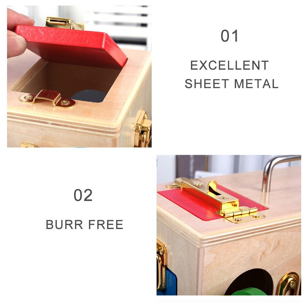 Jouets Montessori en bois petite boîte de verrouillage 3 ans jouets éducatifs en bois sensoriels pour enfants formation Montessori jeux de matériaux - 4