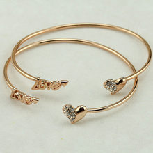 Korean fashion lovers love Rose Gold Bracelet open letter love peach boutique bracelet(China)