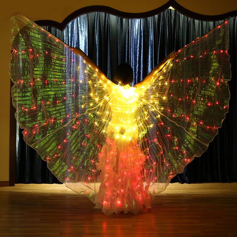 Women LED Light Isis Wings Bright And Stunning Belly Dancing Costumes 360 Degree Sticks Dancing Supplies Props 4 colors changed