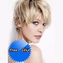 2017 New Real Glueless Human Hair Wigs H24 Human Hair Body Fix Blonde 6 Inches Short With Full Lace Closure For American Women