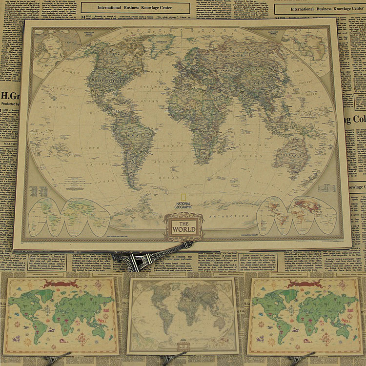 Nostalgia large retro world map poster vintage kraft paper posters nostalgia large retro world map poster vintage kraft paper posters living room wall picture core paint size 6848cm in wall stickers from home garden on gumiabroncs Images