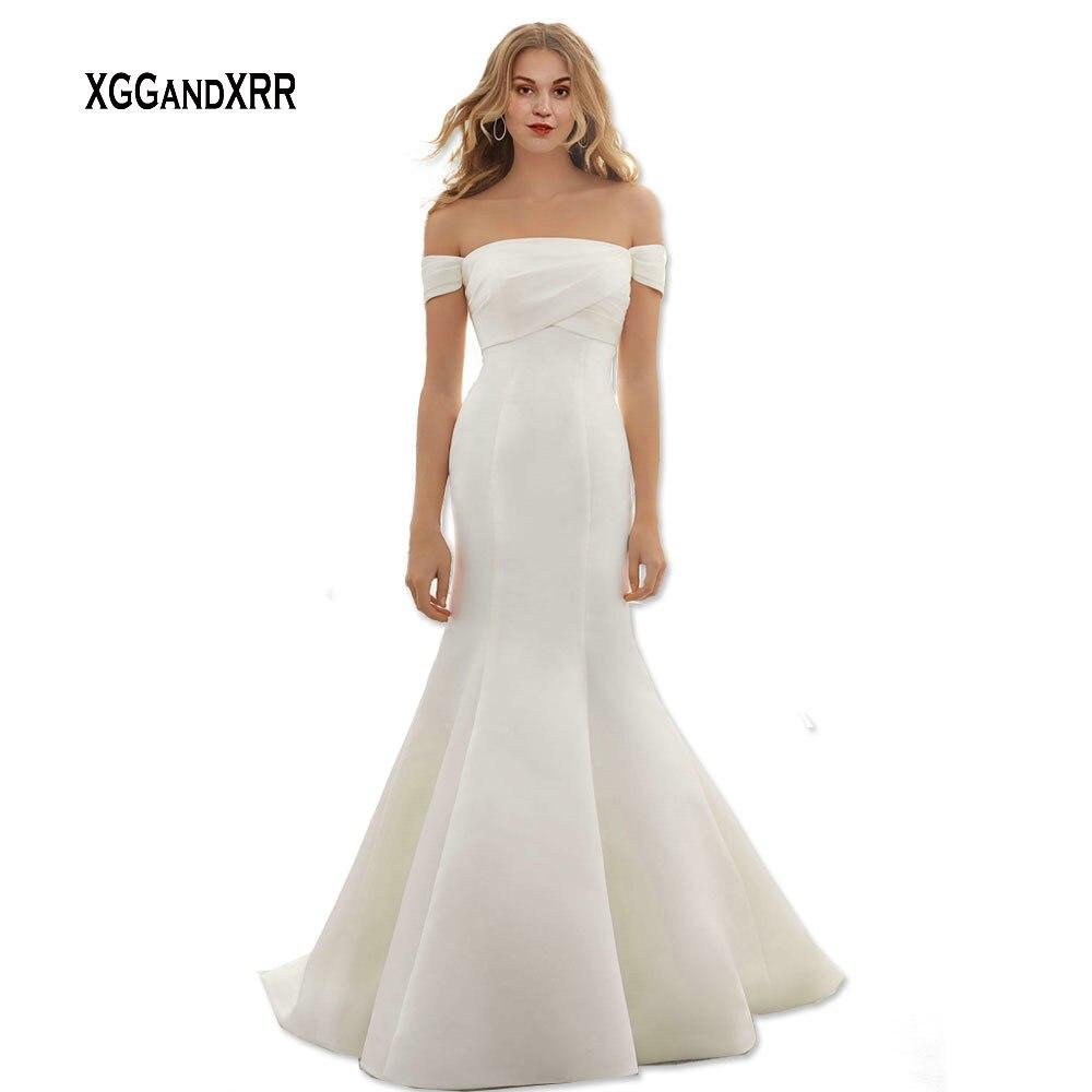 Satin Mermaid Wedding Gown: Sexy Off The Shoulder Long Satin Mermaid Wedding Dress
