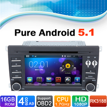 16 GB Flash, 4 Core, HD 1024X600, Android 5.1 System Special Car DVD Player Navigation GPS for Porsche: Cayenne (2003-2010)