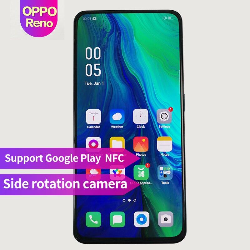 OPPO Reno Nova Chegada 6.4 polegada 3765 mAh Fingerprint ID Qualcomm710 Suporte NFC telefone Inteligente 2340*1080 Núcleo octa câmeras 3 48MP + 5MP