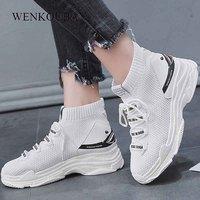 Women Platform Sneakers White Wedage Shoes For Women Chunky Sneakers Fashion Vulcanized Shoes Basket Femme 2019 Tenis Feminino