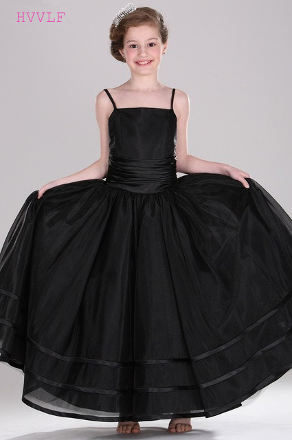 Black 2019   Flower     Girl     Dresses   For Weddings A-line Spaghetti Straps Tulle First Communion   Dresses   For Little   Girls