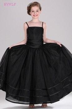Black Flower Girl Dresses For Weddings A-line Spaghetti Straps Tulle First Communion Dresses For Little Girls