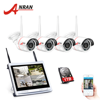 ANRAN P2P 4CH WIFI 12 Inch LCD Monitor NVR 24 IR Mini Bullet Surveillance Security 960P Wireless IP Camera System HDD Optional