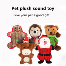 Pet Dog Cat Funny Fleece Durability Plush Toys Squeak Chew Sound Toy Fit for All Santa Claus Pets Bear