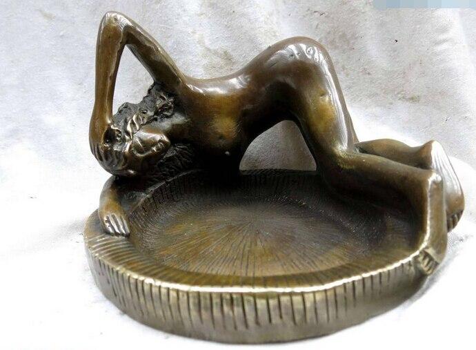 Chine cuivre en laiton Beauté belle Cendrier NAUTIQUE DÉCOR Figurine Statue cadeau arts artisanat décoration