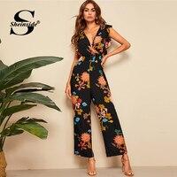 Sheinside Casual Floral Print Wide Leg Jumpsuit Women 2019 Summer Ruffle Trim Jumpsuits Ladies Boho Deep V Neck Wrap Jumpsuit