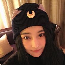 Anime Sailor Moon Cosplay tapa Accesorios de atrezo sombrero gato oído  sombrero hecho punto mujeres moda e64169dcca8