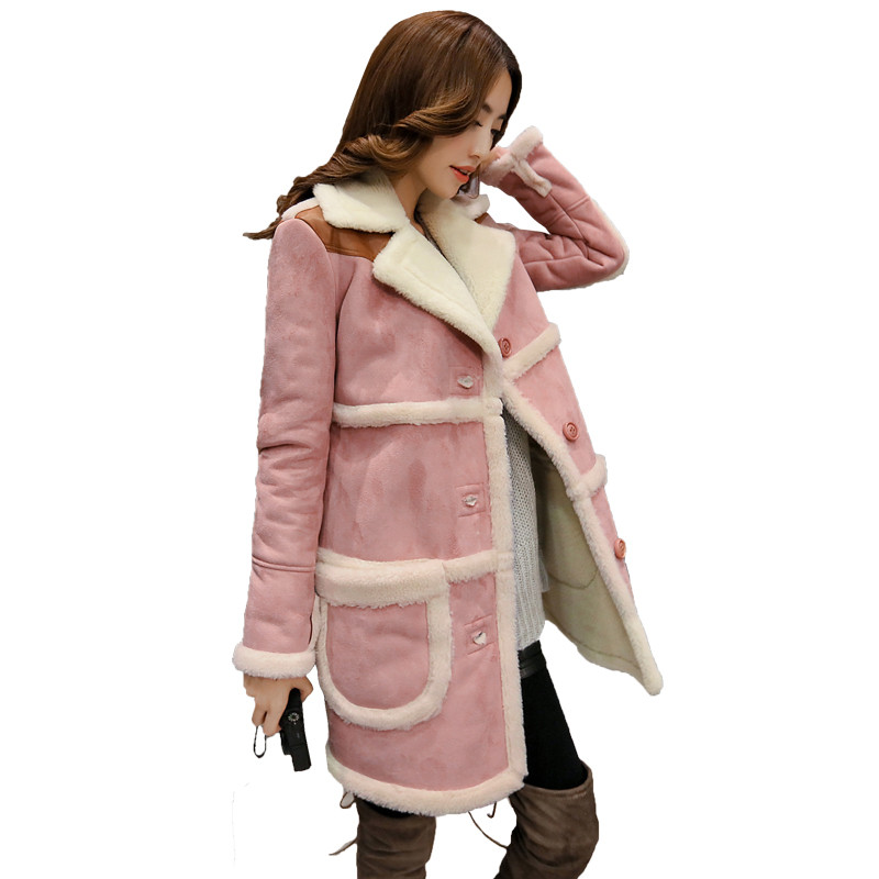 Winter Jacket Women Cotton Coat Female Faux Suede Long Lambs Wool Parka Thick Winter Coat Warm Jacket Fashion Outwear Coat C3485 цены онлайн
