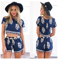 Vestidos Rompers Womens Jumpsuit Shorts New 2015 Summer Sexy Vintage Ladies Rompers Patchwork Printing Jumpsuit Shorts Vestido