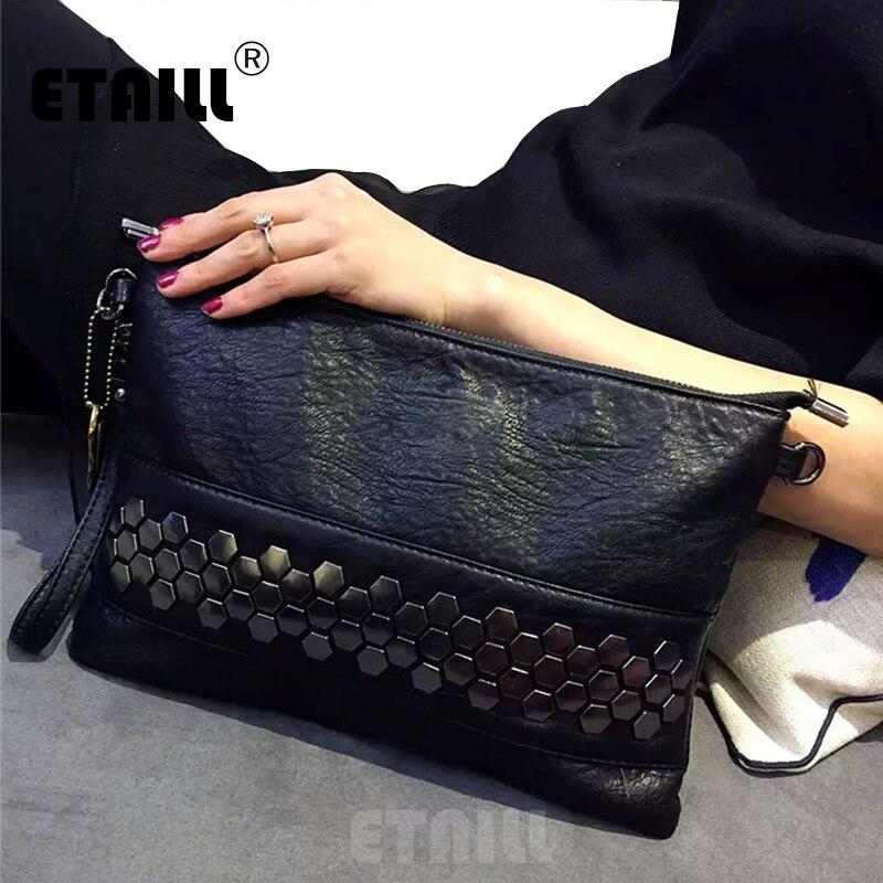 Black Sequined Designer Celebrity Real Leather Studded Casual Day Evening Clutch Hand Bag Stud Punk Rivet