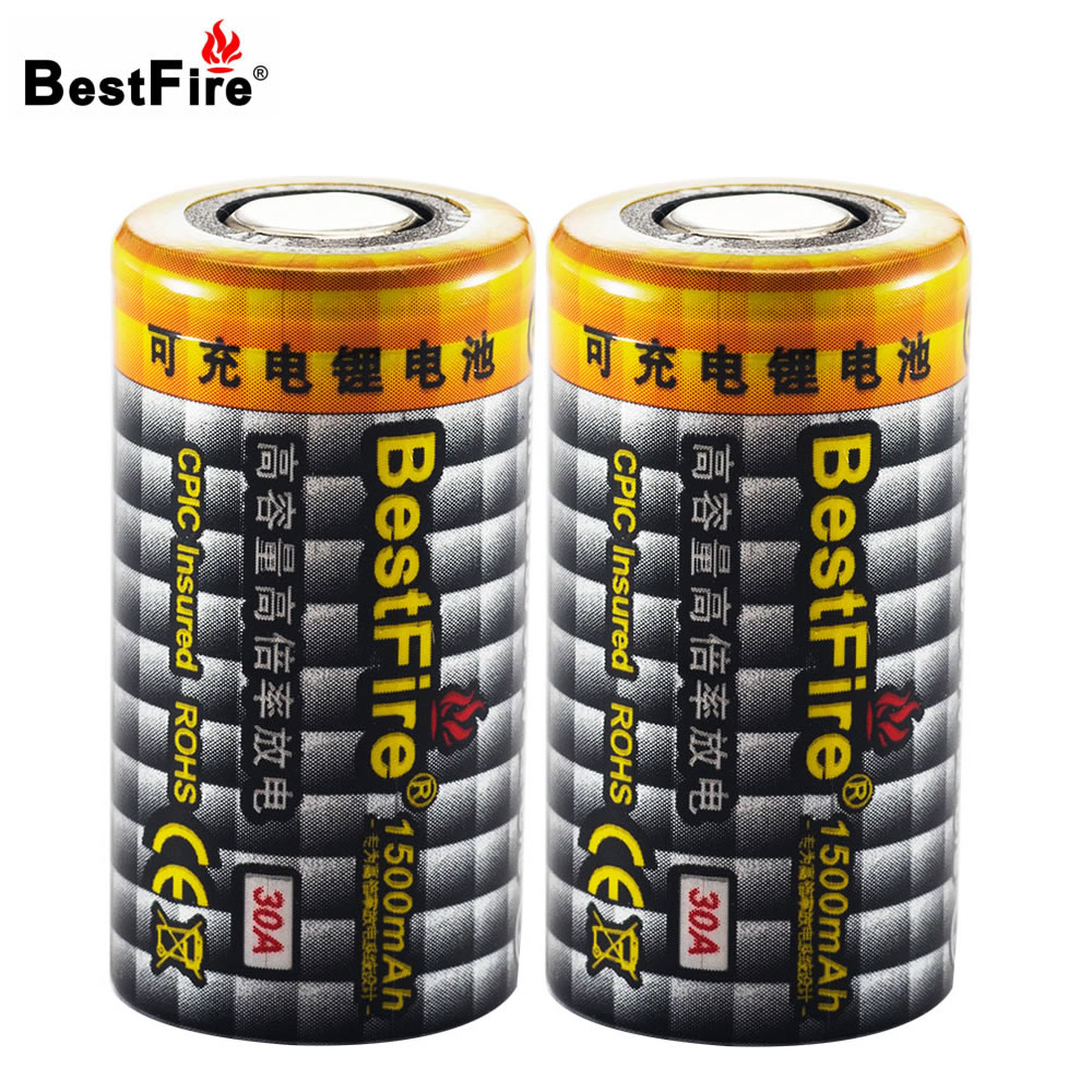 Bestfire 18350 Battery 3.7V Lithium Bateria Li-ion Rechargeable Battery 1500mAh 30A for E-Cigarette/Toy/Remote Control 2PCS/Lot стоимость