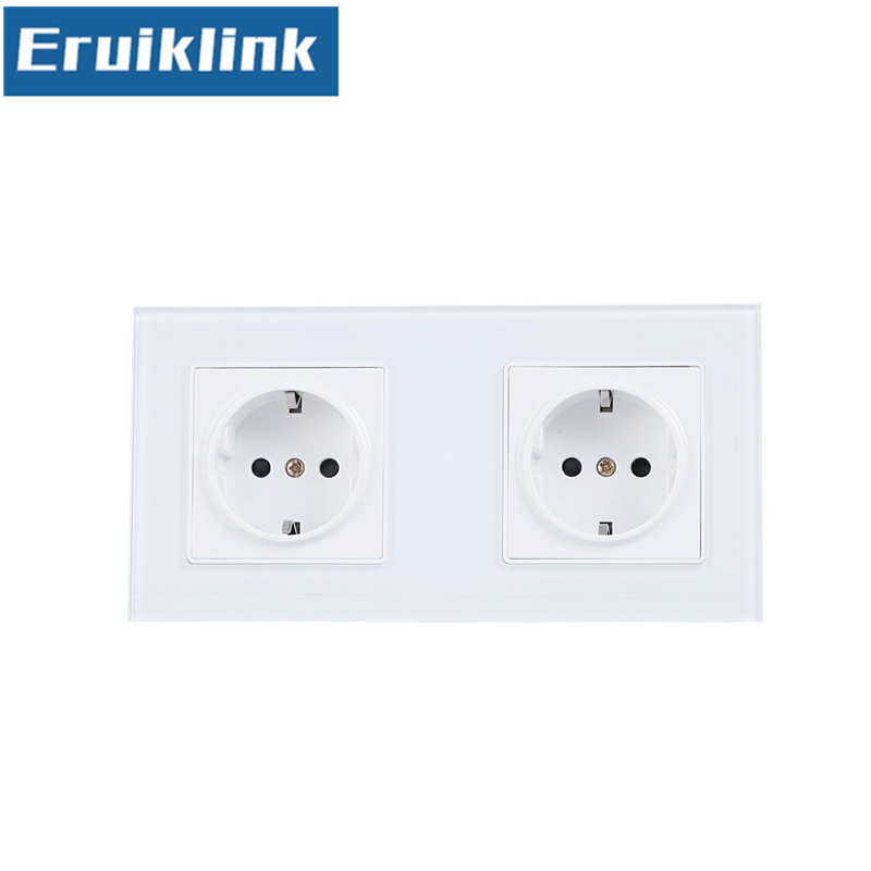 EU Standard 2 Gang Wall Power Socket, White Crystal Glass Panel, AC110V~250V 16A Wall Outlet 250v 16a eu de standard distribution box guide rail socket modular socket power outlet 2p e free shipping frcap7