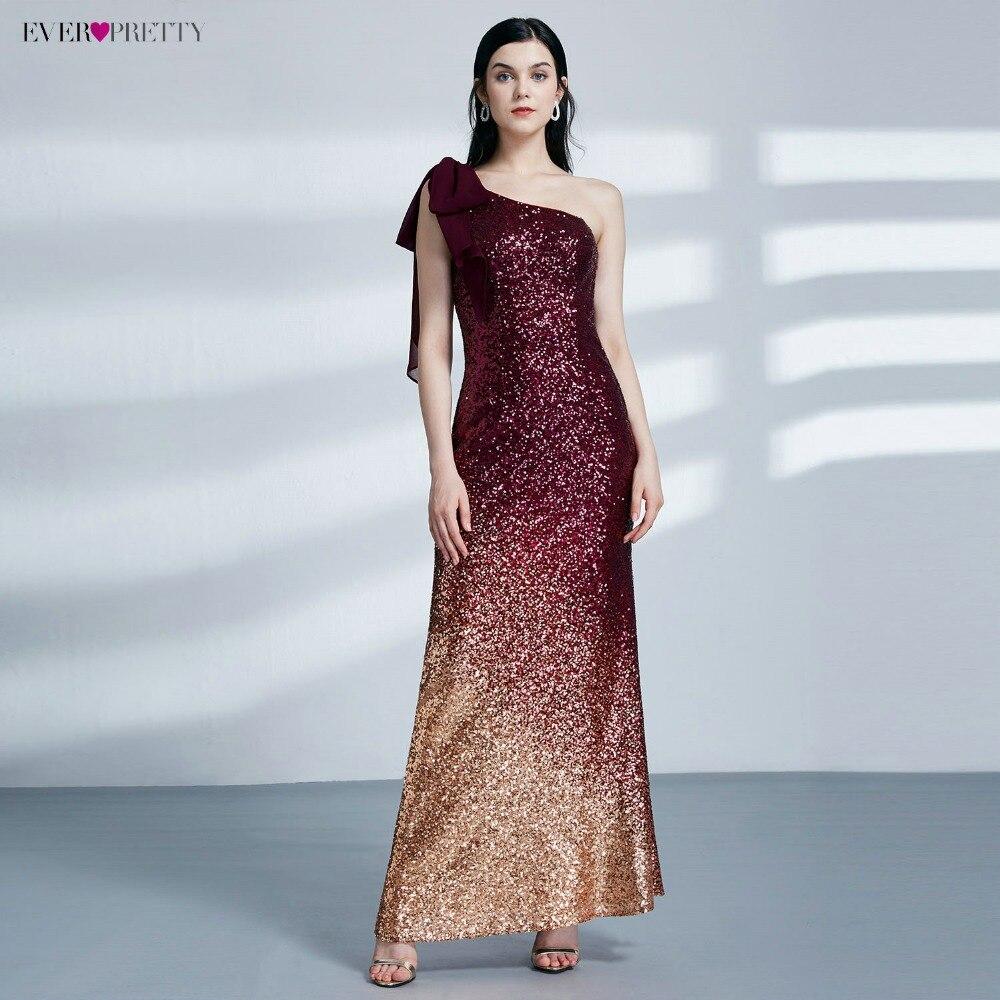 Когда-либо Довольно Вечерние платья Для женщин Мода блестками одно плечо Sexy спинки Нарядное платье 07336 халат De Soiree Longue