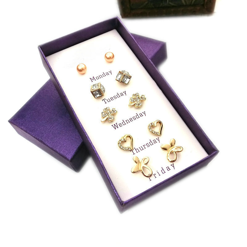 2015 Trendy jewelry-Office lady Clover style week stud earring set with crystal&pearl Monday to Friday sweet J.C good gift