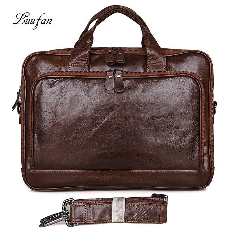 Briefcase Male Man Red-brown Casual Fashion Oil Wax Leather Real Leather Business Work Trip Travel Fit 14''PC Files Large Daily