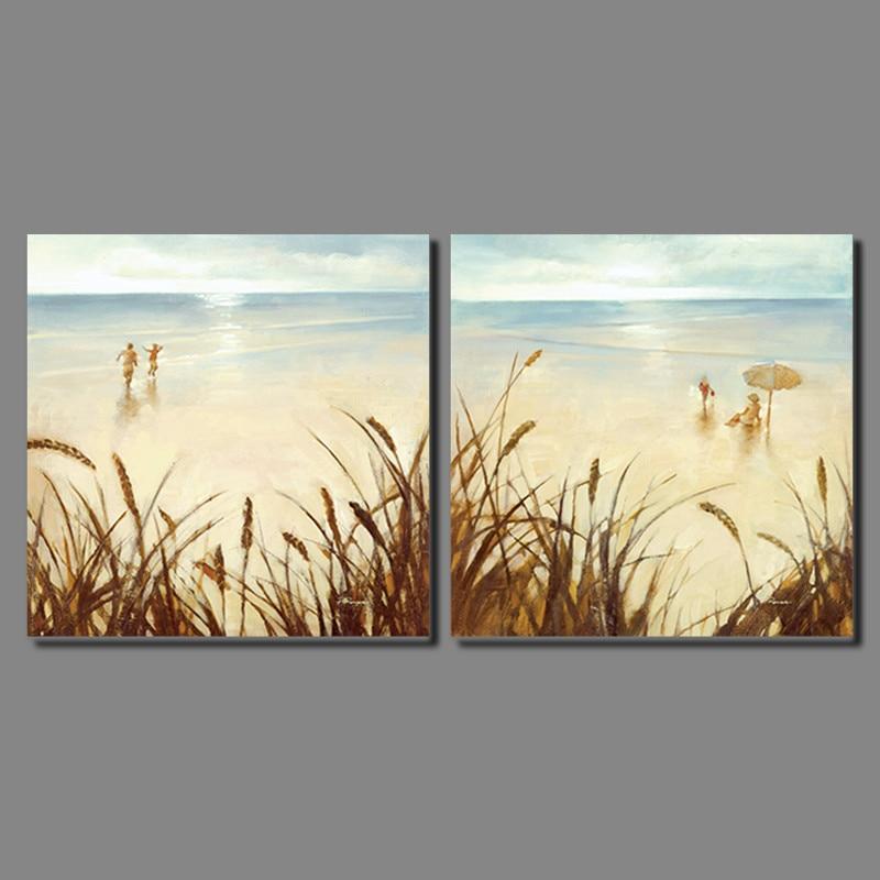 Gold seaside beautiful girl 2pcs Landscape Decoration ...