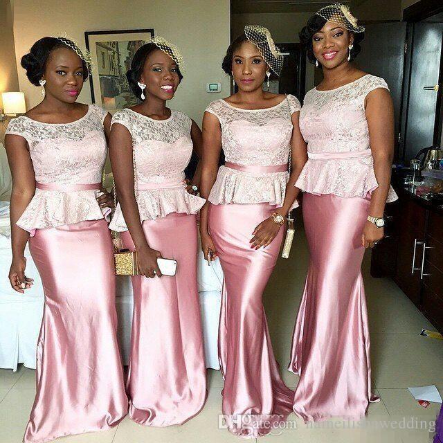 Nigerian Lace Chiffon Long Pink Bridesmaid Dresses Plus